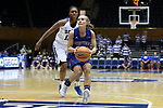 DURHAM, NC - NOVEMBER 26: Presbyterian's Cortney Storey (10) and Duke's Mikayla Boykin (behind). The Duke University Blue Devils hosted the Presbyterian College Blue Hose on November 26, 2017 at Cameron Indoor Stadium in Durham, NC in a Division I women's college basketball game. Duke won the game 79-45.