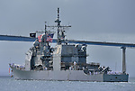 USS COWPENS (CG-63) arrives in San Diego 8 April 2013 after being homeported in Japan since 2000.