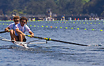 Rowing, Argentina, Men's Pair, Nicolas Silvestro, Sebastian Claus, stroke, Monday 1 November, heat, 2010 FISA World Rowing Championships, Lake Karapiro, Hamilton, New Zealand,