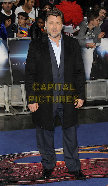 Russell Crowe<br /> 'Man Of Steel' UK film premiere, Empire cinema, Leicester Square, London, England.<br /> 12th June 2013<br /> full length black blue shirt beard facial hair<br /> CAP/CAN<br /> &copy;Can Nguyen/Capital Pictures