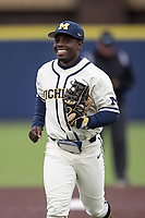 Michigan Wolverines second baseman Ako Thomas (4) in action against the Indiana State Sycamores on April 10, 2019 in the NCAA baseball game at Ray Fisher Stadium in Ann Arbor, Michigan. Michigan defeated Indiana State 6-4. (Andrew Woolley/Four Seam Images)