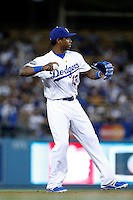 Hanley Ramirez #13 of the Los Angeles Dodgers during a game against the St.Louis Cardinals at Dodger Stadium on September 13, 2012 in Los Angeles, California. St.Louis defeated Los Angeles 2-1. (Larry Goren/Four Seam Images)