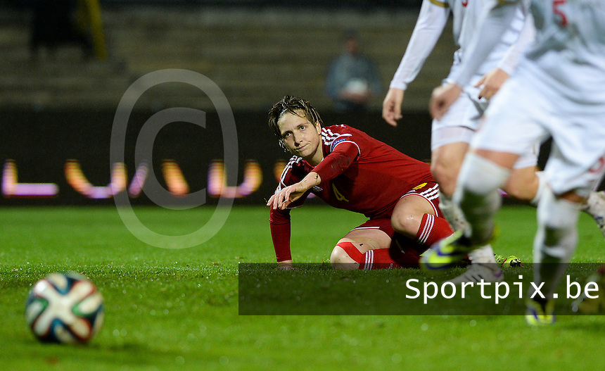 20151130 - LEUVEN ,  BELGIUM : Belgian Maud Coutereels pictured during the female soccer game between the Belgian Red Flames and Serbia , the third game in the qualification for the European Championship in The Netherlands 2017  , Monday 30 November 2015 at Stadion Den Dreef  in Leuven , Belgium. PHOTO DAVID CATRY