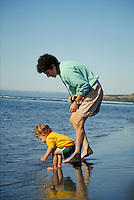 CAUCASIAN MOTHER AND TODDLER AT THE SEASIDE. MOTHER AND TODDLER. SAN FRANCISCO CALIFORNIA USA.