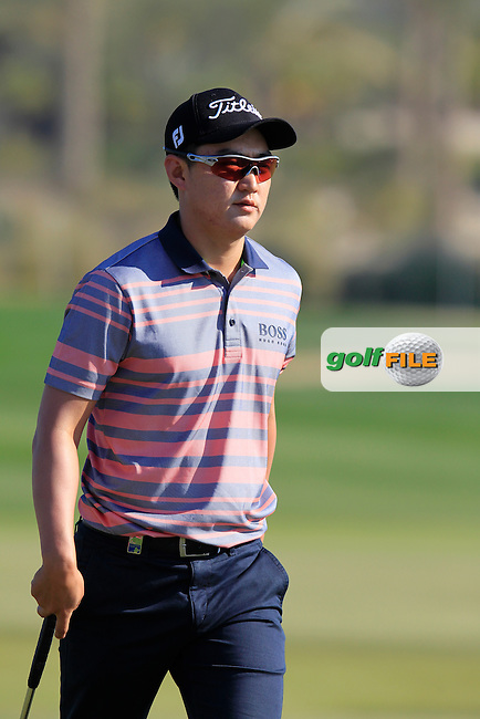 Jin JEONG (KOR) on the 9th green during Thursday's Round 2 of the 2015 Commercial Bank Qatar Masters held at Doha Golf Club, Doha, Qatar.: Picture Eoin Clarke, www.golffile.ie: 1/22/2015