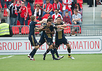 Philadelphia Union midfielder/defender Gabriel Farfan #15 celebrates the first goal during an MLS game between the Philadelphia Union and the Toronto FC at BMO Field in Toronto on May 28, 2011..