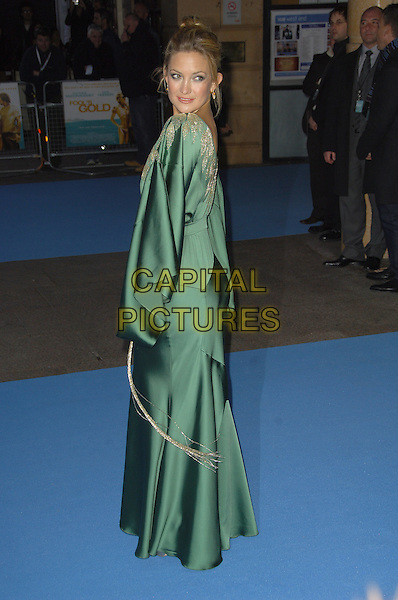"""KATE HUDSON .""""Fool's Gold"""" - UK film premiere,.Vue Leicester Square, London, .April 10th 2008..Fools full length dress long maxi over shoulder green gold patterned .CAP/CAS.©Bob Cass/Capital Pictures"""