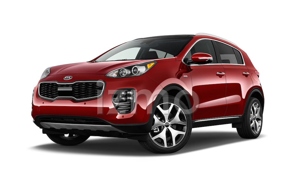 Stock pictures of low aggressive front three quarter view of 2017 KIA Sportage SXAWD 5 Door SUV Low Aggressive