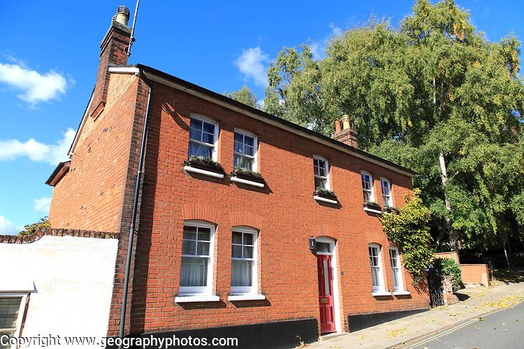 Red brick detached nineteenth century house, St John's Hill, Woodbridge, Suffolk, England, UK