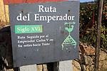Ruta del Emperador, Route of the Emperor footpath sign, La Vera valley, Extremadura, Spain