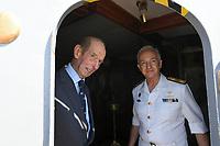 Pictured: Prince Edward (L) is shown around the ship. Saturday 18 May 2019<br /> Re: Prince Edward, Duke of Kent visits cruiser Georgios Averof at Palaio Faliro, Athens, Greece