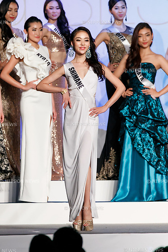 Miss Shimane, Sayaka Fujimoto, competes in an evening gown during Miss Universe Japan competition at Hotel Chinzanso Tokyo on July 4, 2017, Tokyo, Japan. Momoko Abe from Chiba who won the title will represent Japan in the next Miss Universe competition. (Photo by Rodrigo Reyes Marin/AFLO)