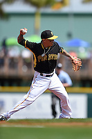 Pittsburgh Pirates infielder Justin Sellers (51) during a Spring Training game against the New York Yankees on March 5, 2015 at McKechnie Field in Bradenton, Florida.  New York defeated Pittsburgh 2-1.  (Mike Janes/Four Seam Images)
