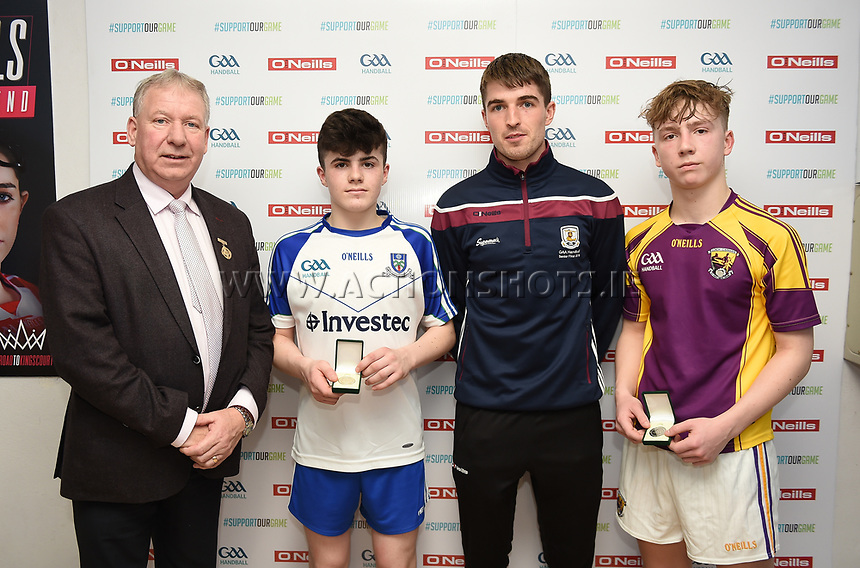 19/03/2018; 40x20 All Ireland Juvenile Championships Finals 2018; Kingscourt, Co Cavan;<br /> Boys Under-16 Singles; Wexford (Josh Kavanagh) v Monaghan (Eoghan McGinnity)<br /> (L-R) GAA Handball President Joe Masterson, Eoghan McGinnity, Martin Mulkerrins and Josh Kavanagh.<br /> Photo Credit: actionshots.ie/Tommy Grealy