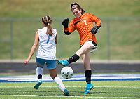 NWA Democrat-Gazette/CHARLIE KAIJO Rogers High School goalkeeper Mackenzie Brace (1) deflects the ball during the semifinals of the 7A Girls State Soccer Tournament, Saturday, May 12, 2018 at Whitey Smith Stadium at Rogers High School in Rogers. Rogers advanced to the finals when midfielder Skylurr Patrick (3) scored both of Rogers' goals defeating Southside High School, 2-1.