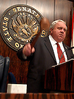 TALLAHASSEE 5/27/03-Senate President Jim King, R-Jacksonville, gavels the Senate to adjournment before the House finished debating the budget Tuesday at the Capitol in Tallahassee...COLIN HACKLEY PHOTO