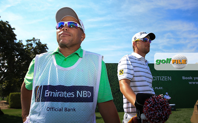 Caddie Shane with Bernd Wiesberger (AUT) during the Pro-Am at the 2016 Omega Dubai Desert Classic, played on the Emirates Golf Club, Dubai, United Arab Emirates.  03/02/2016. Picture: Golffile | David Lloyd<br /> <br /> All photos usage must carry mandatory copyright credit (&copy; Golffile | David Lloyd)