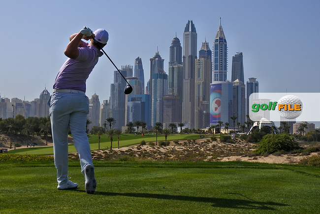 Callum Shinkwin (ENG) on the 8th tee during Round 3 of the Omega Dubai Desert Classic, Emirates Golf Club, Dubai,  United Arab Emirates. 26/01/2019<br /> Picture: Golffile | Thos Caffrey<br /> <br /> <br /> All photo usage must carry mandatory copyright credit (&copy; Golffile | Thos Caffrey)