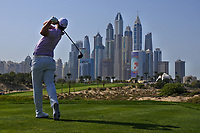 Callum Shinkwin (ENG) on the 8th tee during Round 3 of the Omega Dubai Desert Classic, Emirates Golf Club, Dubai,  United Arab Emirates. 26/01/2019<br /> Picture: Golffile | Thos Caffrey<br /> <br /> <br /> All photo usage must carry mandatory copyright credit (© Golffile | Thos Caffrey)