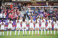 Orlando, FL - Friday December 01, 2017: Kiki Pickett, Catarina Macario, Andi Sullivan, Alana Cook, Kyra Carusa, Jordan DiBiasi, Tierna Davidson, Tegan McGrady, Jaye Boissiere during the NCAA Semi-Final match between the Stanford Cardinal and the South Carolina Gamecocks at Orlando City Stadium.