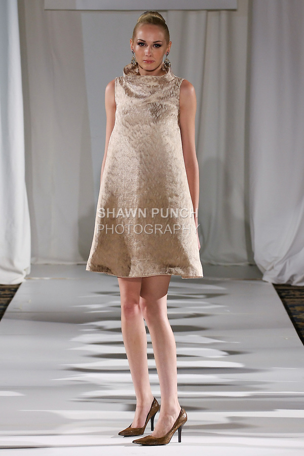 Christine walks runway in a champagne silk thread embroidery overlay pearl white silk-faced wool, trapeze dress, from the b Michael AMERICA Couture Spring 2013 collection during Mercedes-Benz Fashion Week Spring 2013, at the Jumeirah Essex House on September 12, 2012.