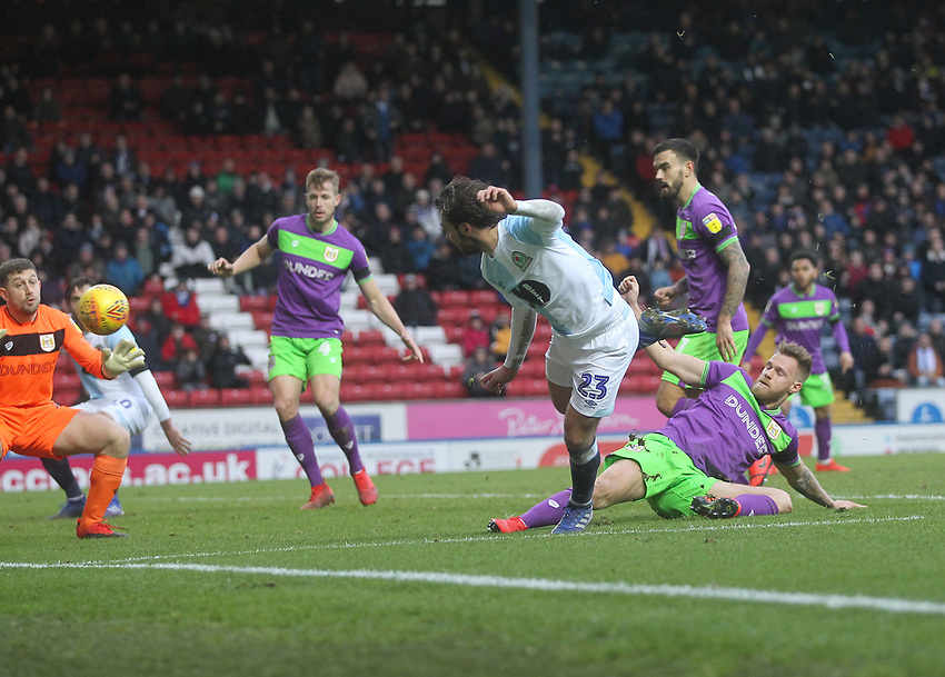 Blackburn Rovers Bradley Dack gets a shot on goal<br /> <br /> Photographer Mick Walker/CameraSport<br /> <br /> The EFL Sky Bet Championship - Blackburn Rovers v Bristol City - Saturday 9th February 2019 - Ewood Park - Blackburn<br /> <br /> World Copyright © 2019 CameraSport. All rights reserved. 43 Linden Ave. Countesthorpe. Leicester. England. LE8 5PG - Tel: +44 (0) 116 277 4147 - admin@camerasport.com - www.camerasport.com