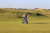 Mrs &amp; Mr. Ronan Keating (AM) walking up the 10th during Round 2 of the 2015 Alfred Dunhill Links Championship at Kingsbarns in Scotland on 2/10/15.<br /> Picture: Thos Caffrey | Golffile