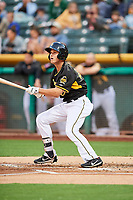 Bo Way (24) of the Salt Lake Bees follows through on his swing at bat against the Omaha Storm Chasers in Pacific Coast League action at Smith's Ballpark on May 8, 2017 in Salt Lake City, Utah. Salt Lake defeated Omaha 5-3. (Stephen Smith/Four Seam Images)