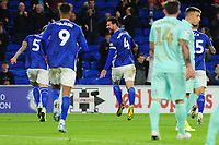 celebrates scoring his side's fourth goal celebrates scoring the opening goal during the Sky Bet Championship match between Cardiff City and Queens Park Rangers at the Cardiff City Stadium in Cardiff, Wales, UK. Wednesday 02 October, 2019