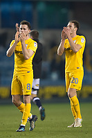 Preston's Alan Browne and Ben Davies applaud the Preston supporters<br /> <br /> Photographer Jon Hobley/CameraSport<br /> <br /> The EFL Sky Bet Championship - Millwall v Preston North End - Saturday 13th January 2018 - The Den - London<br /> <br /> World Copyright &copy; 2018 CameraSport. All rights reserved. 43 Linden Ave. Countesthorpe. Leicester. England. LE8 5PG - Tel: +44 (0) 116 277 4147 - admin@camerasport.com - www.camerasport.com