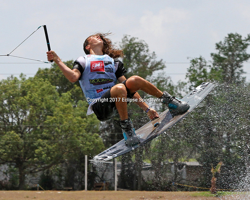 ORLANDO, FL - April 29:  Guenther Oka USA finishes first in Heat #03 in the Semi-Finals of the Junior Men's Professional Division to advance to the final of the WWA Nautique Wake Open 2017 at  the Orlando Watersports Complex on April 29, 2017 in Orlando, Florida. (Photo by Liz Lamont/Eclipse Sportswire/Getty Images)