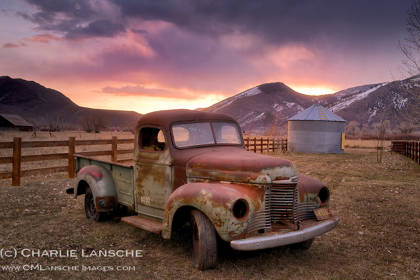 Times gone by... A nostalgic sunrise this morning at the Ransche. Yes, I am a sucker for tarnished old trucks... the rustier and weathered, the better. There's something about a retired farm truck put out to pasture that instantly transports me to another time and place. My first car was a beat up 1952 Chevy pickup and I've loved these rust buckets ever since. This old 1948 International Harvester now lives in my front yard... I call it yard art, not sure what my good neighbors will call it. I acquired it a couple of days ago from fellow truck lovers, Collin and Ryan Wilson. Collin Wilson, this one's for you. Thank you for your gentle kindness. Near Oakley, Utah. March 26, 2014.