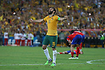 Australia's captain Mile Jedinak stands with both arms stretched after the referee blew his whistle to signal the end of the match and Australia becoming Asian Champions after beating Korea Republic 2-1 in extra time at Stadium Australia. Sydney Australia. Saturday, 31st January 2015 (Photo: Steve Christo).