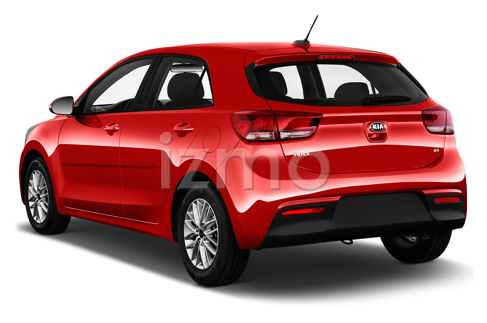 Car pictures of rear three quarter view of a 2018 KIA Rio EX 5 Door Hatchback angular rear