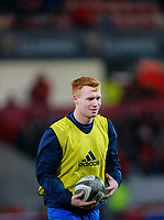28th December 2019; Thomond Park, Limerick, Munster, Ireland; Guinness Pro 14 Rugby, Munster versus Leinster; Ciarán Frawley of Leinster warms up prior to kickoff - Editorial Use