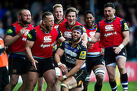 Guy Mercer of Bath Rugby is congratulated on his try by team-mates but the score is later ruled out. Aviva Premiership match, between Bath Rugby and Sale Sharks on April 23, 2016 at the Recreation Ground in Bath, England. Photo by: Patrick Khachfe / Onside Images