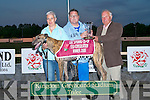 WINNER: Owner of Nauro Super, Paul Brenkley being presented with his trophy by Lee Strand committee member Jerry McMahon at the Lee Strand evening of racing at the Kingdom Greyhound Stadium l-r: Liz O'Connor, Paul Brenkley and Jerry McMahon..   Copyright Kerry's Eye 2008