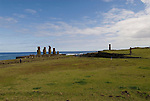 Chile, Easter Island: Wide angle view of historic village called Ahu Tahai, near Hanga Roa..Photo #: ch229-33612..Photo copyright Lee Foster www.fostertravel.com lee@fostertravel.com 510-549-2202