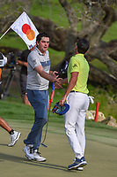Keegan Bradley (USA) shakes hands with Rafael Cabrera Bello (ESP) following round 4 of the Arnold Palmer Invitational at Bay Hill Golf Club, Bay Hill, Florida. 3/10/2019.<br /> Picture: Golffile | Ken Murray<br /> <br /> <br /> All photo usage must carry mandatory copyright credit (© Golffile | Ken Murray)