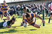 Kalim North dives over to score for Patumahoe. Counties Manukau Premier Club Rugby game between Manurewa and Patumahoe, played at Mountfort Park Manurewa on Saturday June 23rd 2018. Patumahoe won the game 29 - 24 after trailing 12 - 19 at halftime.<br /> Manurewa Kidd Contracting 24 - Petelo Ikenasio, David Osofua, Paolelei Luteru, Pisi Leilua tries, Timothy Taefu 2 conversions,<br /> Patumahoe Troydon Patumahoe Hotel 29 - Kalim North, Shea Furniss, Jonny Wilkinson, Mark Royal, James Brady tries,  Broc Hooper 2 conversions.<br /> Photo by Richard Spranger