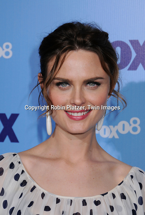 """Emily Deschanel of """"Bones""""..posing for photographers at the FOX Upfront 2008 programming presentation on May 15, 2008 at Wollman Rink in Central Park in  New York City.....Robin Platzer, Twin Images"""