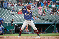 Frisco RoughRiders Charles Leblanc (12) bats during a Texas League game against the Midland RockHounds on May 21, 2019 at Dr Pepper Ballpark in Frisco, Texas.  (Mike Augustin/Four Seam Images)