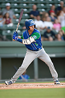 Left fielder Manny Olloque (1) of the Lexington Legends swings at a pitch during a game against the Greenville Drive on Saturday, September 1, 2018, at Fluor Field at the West End in Greenville, South Carolina. Greenville won, 9-6. (Tom Priddy/Four Seam Images)