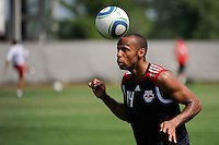 New York Red Bulls Thierry Henry (14) heads a ball at the end of a New York Red Bulls practice on the campus of Montclair State University in Upper Montclair, NJ, on July 16, 2010.