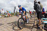 Elia Viviani (ITA) in action during the Elite Men's Road Race during the 2019 UEC European Road Championships, Alkmaar, The Netherlands, 11 August 2019.<br /> <br /> Photo by Thomas van Bracht / PelotonPhotos.com | All photos usage must carry mandatory copyright credit (Peloton Photos | Thomas van Bracht)