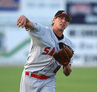 24 Aug 2005: Outfielder Hunter Pence (8) of the Salem Avalanche, Class A Carolina League affiliate of the Houston Astros, taken at Pfitzner Stadium, Woodbridge, Va., in a game against the Potomac Nationals..(Tom Priddy/Four Seam Images)
