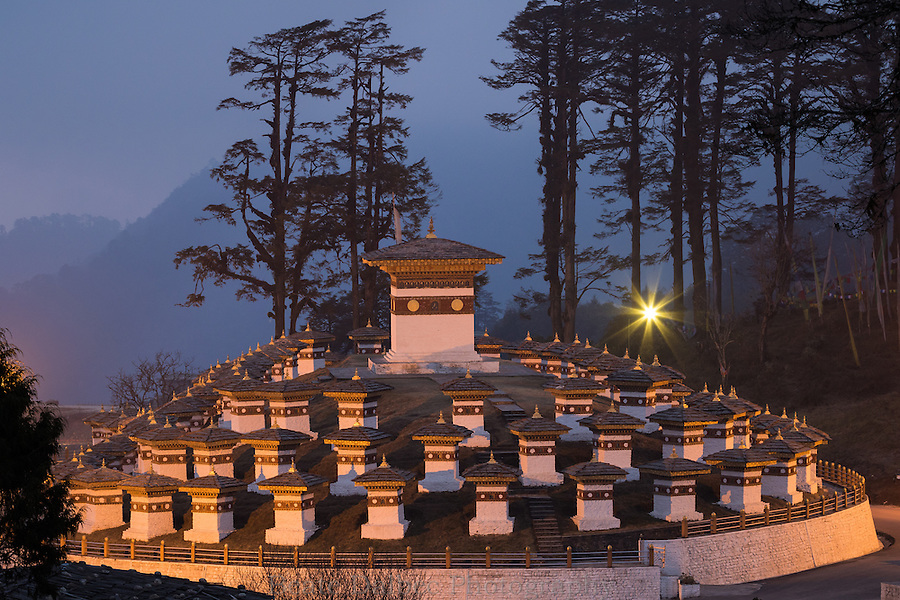 Dochula Pass, Bhutan, at night