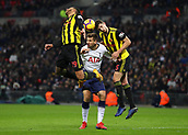 30th January 2019, Wembley Stadium, London England; EPL Premier League football, Tottenham Hotspur versus Watford; Fernando Llorente of Tottenham Hotspur being challenged by Etienne Capoue and Craig Cathcart of Watford