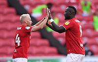 22nd July 2020; Ashton Gate Stadium, Bristol, England; English Football League Championship Football, Bristol City versus Preston North End; Famara Diedhiou of Bristol City celebrates with Andreas Weimann on scoring in 48th minute 1-1