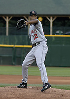 May 14, 2004:  Pitcher Pedro Liriano of the Indianapolis Indians, Triple-A International League affiliate of the Milwaukee Brewers, during a game at Frontier Field in Rochester, NY.  Photo by:  Mike Janes/Four Seam Images